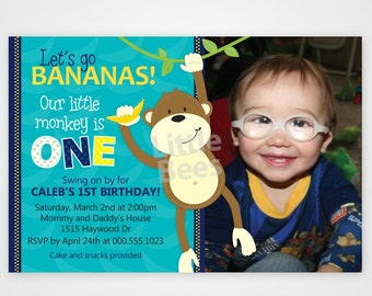 Monkey First Birthday Invitation customized with your photo -- Printable Invitation in Any color