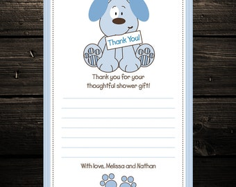 Puppy Dog Thank you Notes, baby shower thank yous, birthday thank you cards, Set of 20 printed cards with envelopes