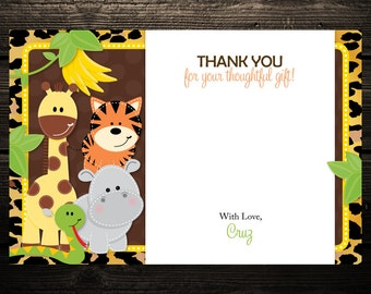 20 Wild Leopard Jungle Friends Baby Shower or Birthday Thank you Notes - ANY COLOR