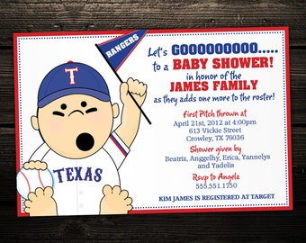 Sports Baseball Tailgate Printable Baby Shower or Birthday Invitation -- ANY TEAM MLB