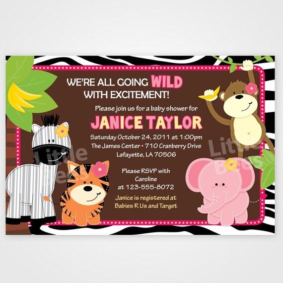 Jungle Invitations, zebra baby shower, safari invite, printable invitation, zebra print border, jungle birthday, boy, girl or neutral theme