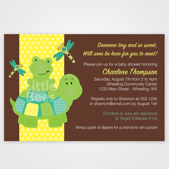 Polkadot Turtle and Frog Printable Baby Shower or Birthday Invitation -- Any Color