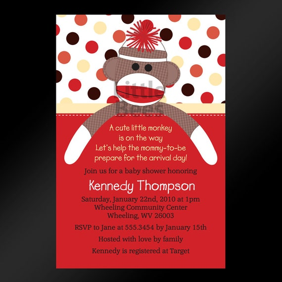 Sock Monkey Baby Shower Invitations, Birthday Invitations -- Set of 20 printed cards in any color