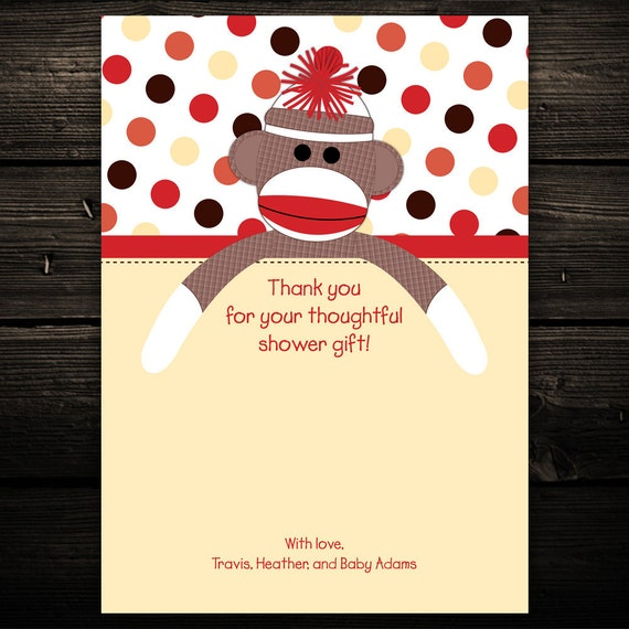 20 Sweet Sock Monkey Baby Shower or Birthday Thank you Notes - ANY COLOR