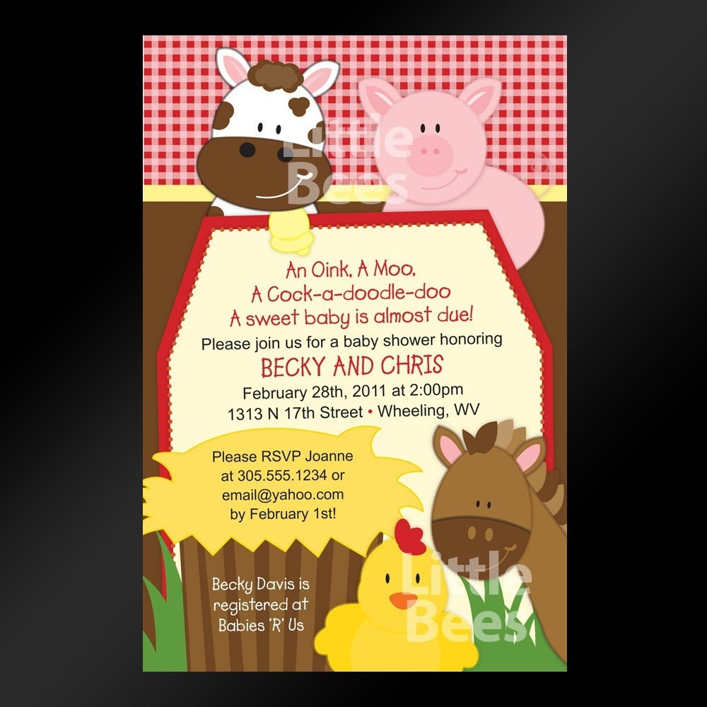 Barnyard Invitations Farm Baby Shower Invitation Printable