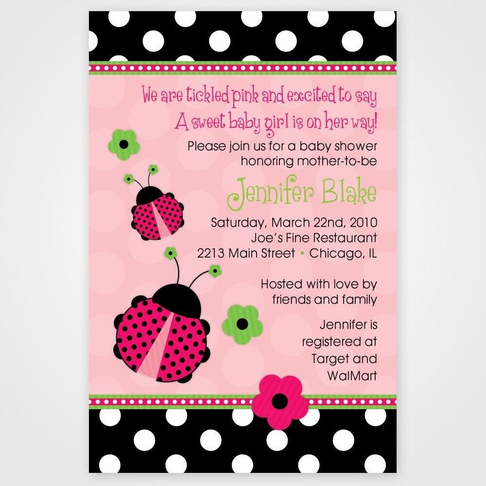 Ladybug Baby Shower Invitation Lady Birthday Invitation