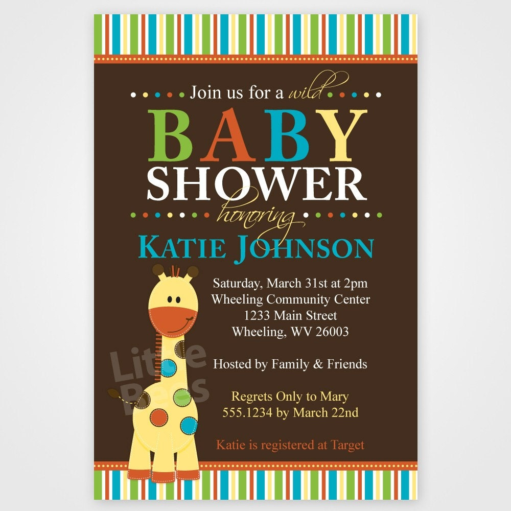 giraffe invitation giraffe baby shower invite giraffe