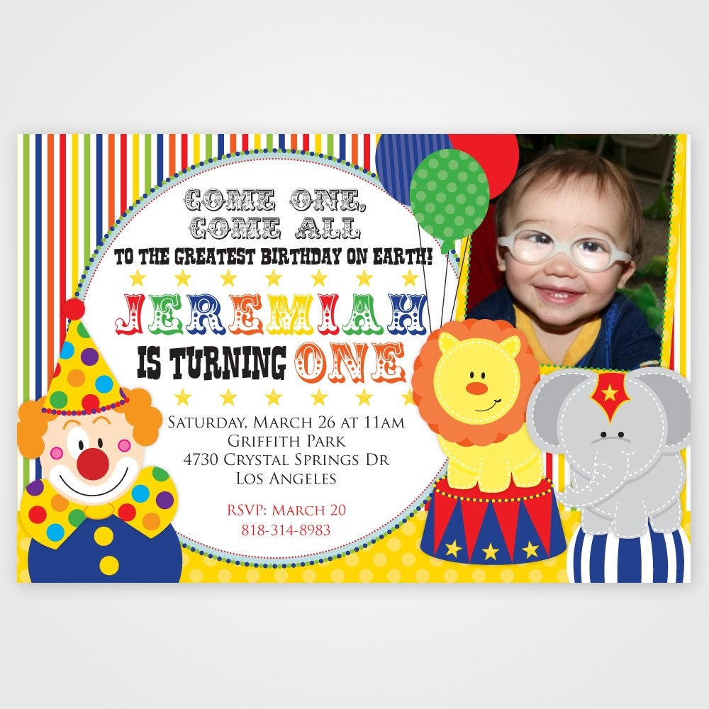 Circus Birthday Party Invitation Carnival Invitation Kids