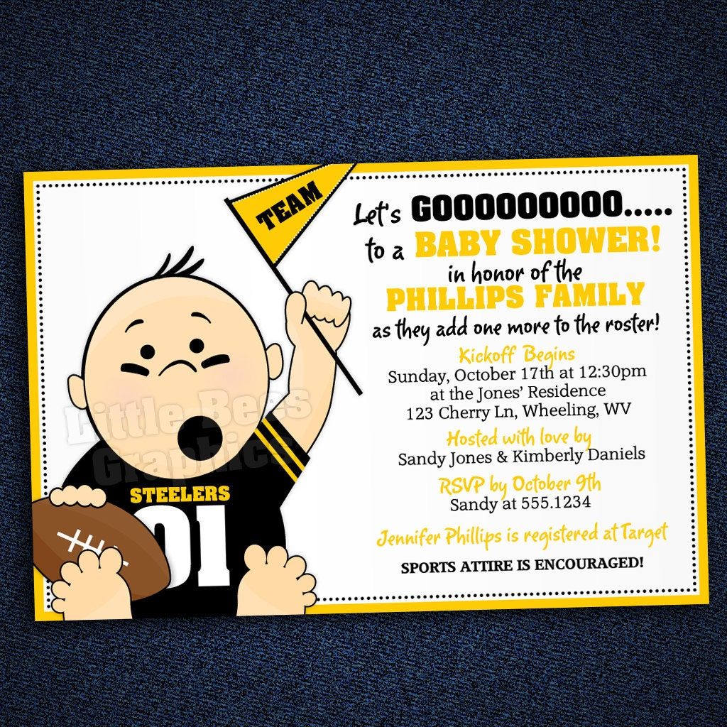 sports football tailgate baby shower or birthday invitation