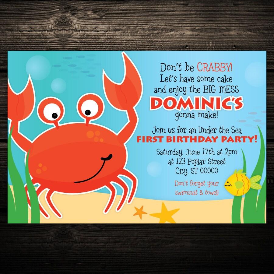 Crab Invitation Boys Birthday Invite Under The Sea Fish