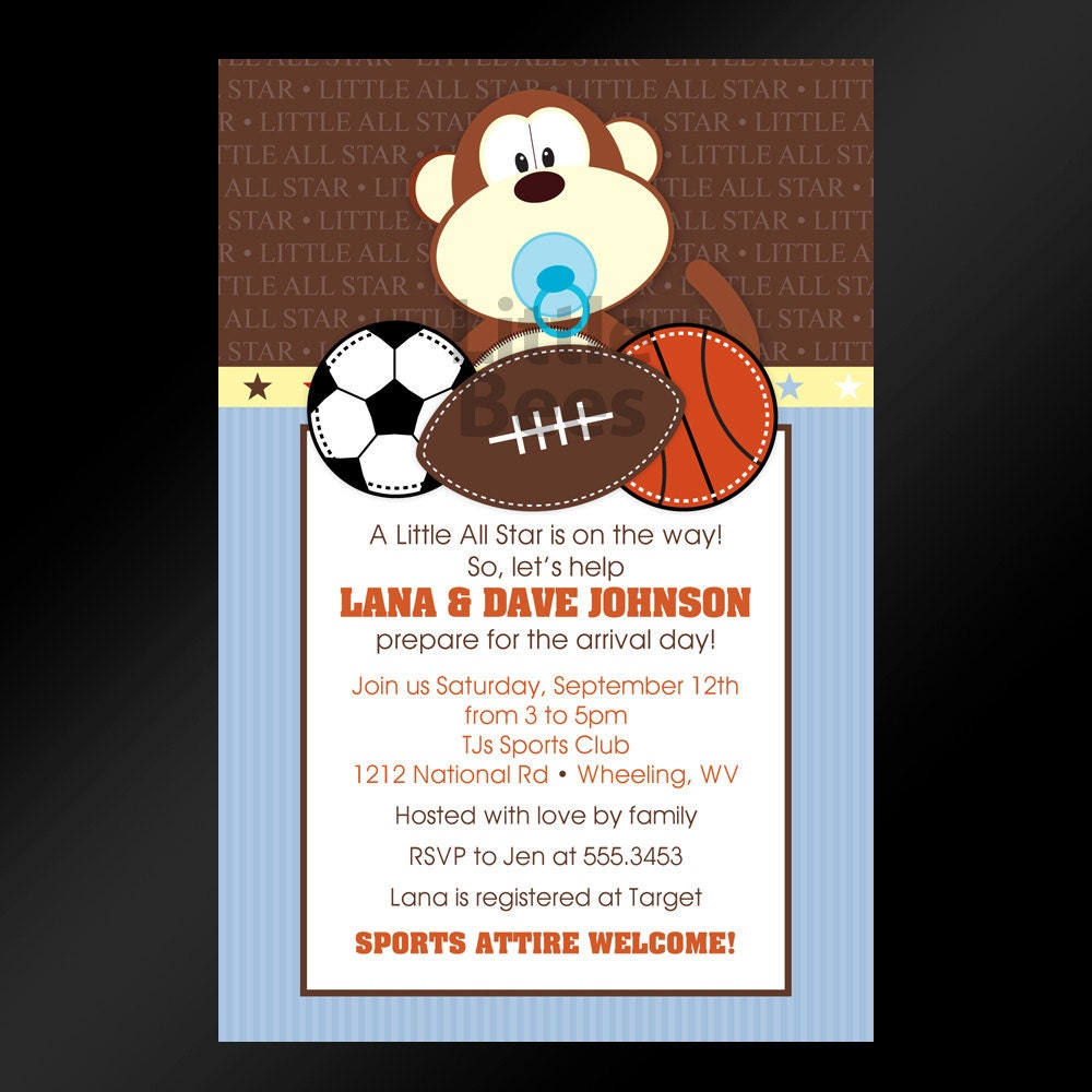 20 jungle sports themed baby shower or by littlebeesgraphics