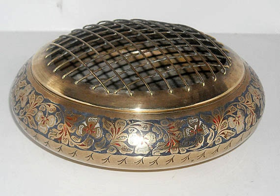 Vintage Brass Flower Frog and Container, Etched, Painted Metal Container Home Decor made in India