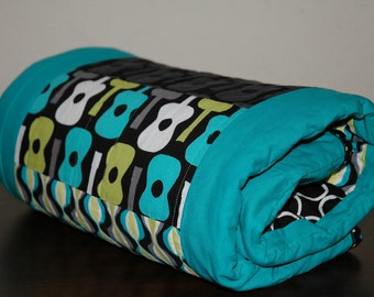 ModeRN Baby Boy Crib/Toddler Bed Quilt, Michael Miller's Groovy Guitars and Lagoon fabrics with Lime Green Bubble Dot Minky W/ binding