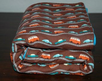 MoDeRN, Ready to Ship, Baby Boy Blanket, Riley Blake's Wheels in Brown with Blue Bubble Dot Minky. Cars, Trucks, Vehicles.