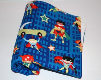 REaDy To SHiP! Baby Boy Travel Blanket. Michael Miller Super Heroes with White Minky. Superman