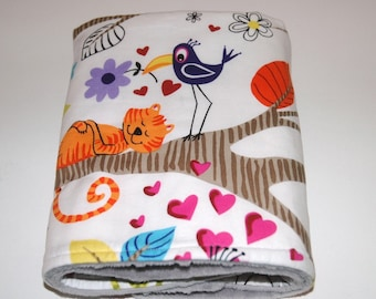 Baby Boy/Girl Travel Blanket, Alexander Henry's Just Hanging with Your Choice Minky. Animals, Birds, Monkeys, lions, tigers, Trees
