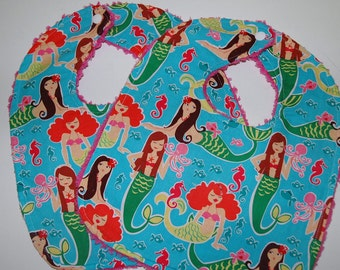 MoDeRN Baby/Toddler Girl Bibs, Set of 2, Miller Sea Beauties Mermaids with Pink Chenille. Made to Order