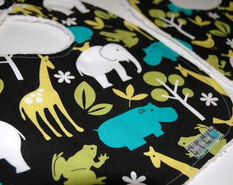 MoDeRN Baby Toddler Boy Bibs, Set of 2, Michael Miller Zoology in Lagoon with White Chenille. REadY To ShIP