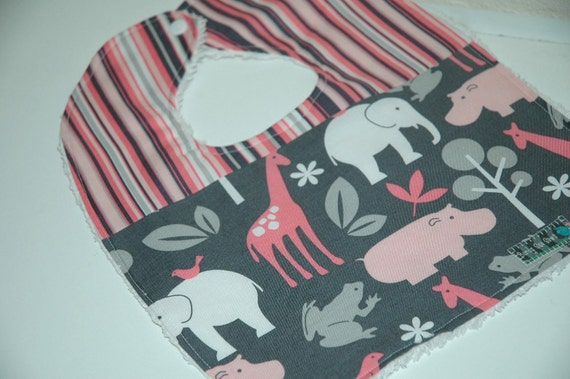 Baby/Toddler Girl Bib, Michael Miller Zoology in Bloom with Stripes and White Chenille. ReADy To ShIP