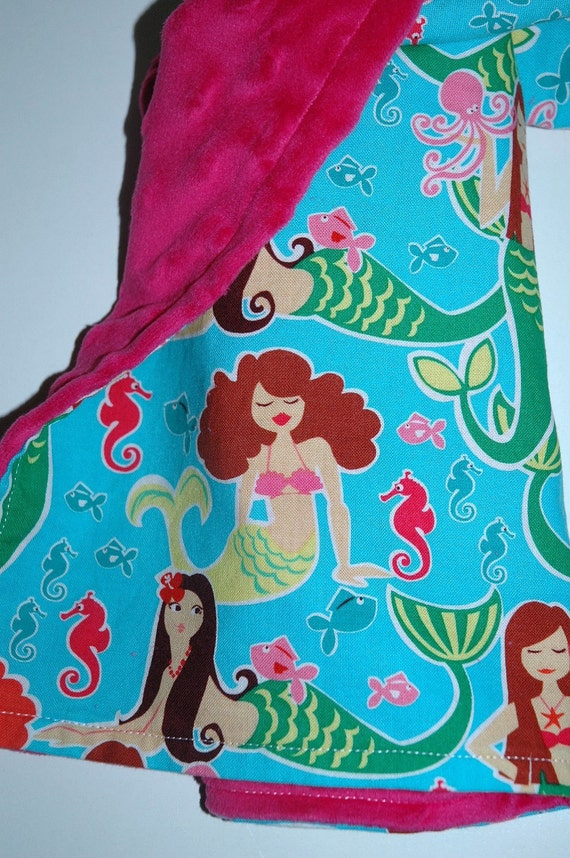 Baby Girl Travel Blanket, Miller Sea Beauties Mermaids with Pink Bubble Dot Minky. ReADy To ShIP