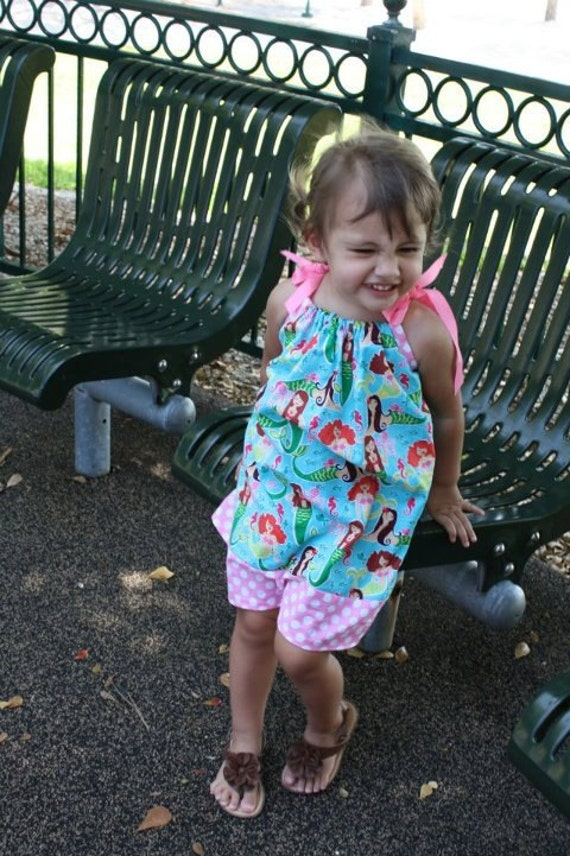 Toddler Girls PillowCase Dress with Michael Miller's Mermaids Sea Beauties. Beach, Ocean, Island