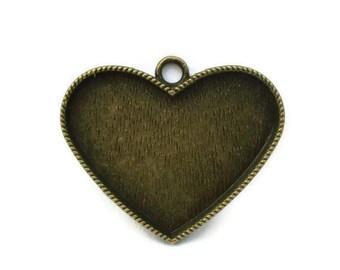 Bezel Cabochon Setting Tray Pendant Large Heart