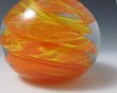 Glass Paperweight - Paperweight - Yellow and Orange - Handmade Glass - OOAK Glass