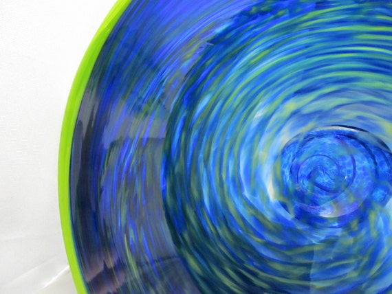 Glass on Sale - Blown Glass Bowl - Blue and Chartreuse Blown Glass Bowl -  mixed blues - shades of blue - OOAK - handmade