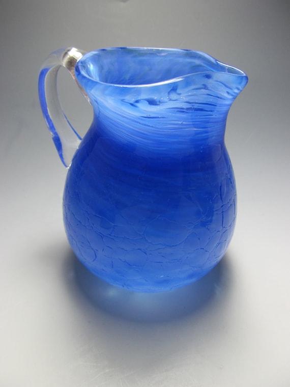 Blown Glass Pitcher - Blue Glass - Crackle Glass - OOAK - Handmade Glass