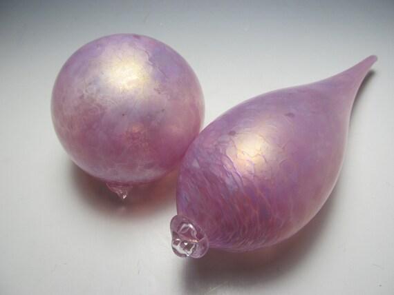 Teardrop Ornament in Pink - Glass Ornament - Blown Glass Ornament - Handmade OOAK Glass