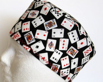 Mens or Unisex Surgical Scrub Hat or Chemo Hat Poker Cards on Black
