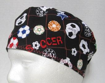 Mens Scrub Hat or Surgical Cap Soccer Balls on Black