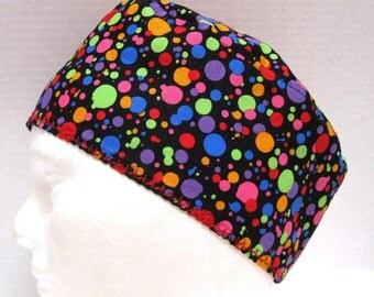 Colorful Mens Scrub Hat Bright Rainbow Dots on Black