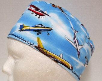 Mens Surgical Scrub Hat, Scrub Cap, Surgical Cap, Chemo Cap Airplanes on Sky Blue