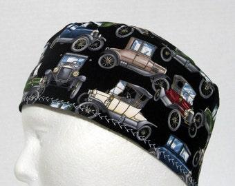 Vintage Cars Mens Scrub Hat, Surgical Cap or Skull Cap