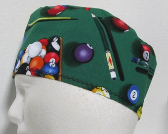 Mens Scrub Hat or Skull Cap with Pool or Billiard Balls and Cues