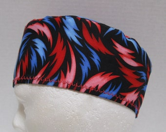 Mens Scrub Cap or Surgical Hat with Red and Blue Flames