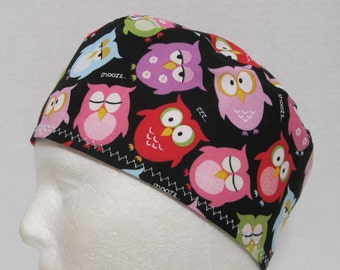 Scrub Hat, Surgical Cap or Skull Cap with Sleepy Owls on Black