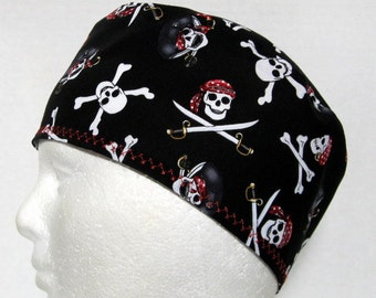 Mens Scrub Hat with Pirate Skulls and Cross Bones on Black