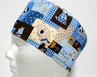 Mens Scrub Hat or Surgical Cap Spotty Dogs on Blue and Tan