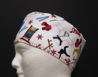 Mens Scrub Hat, Surgical Cap or Skull Cap Martial Arts
