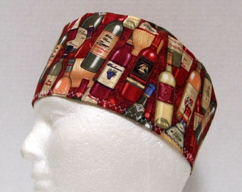 Mens Scrub Hat or Surgical Cap with Wine Bottles