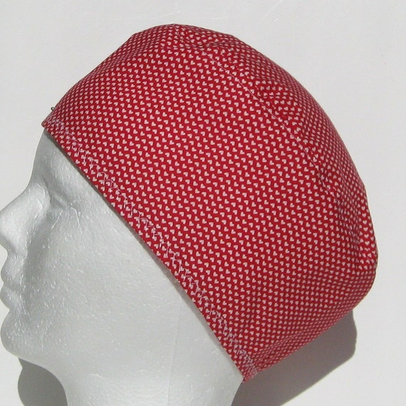 Unisex Surgical Scrub Hat in Red and White