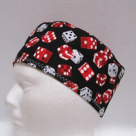 Mens Surgical Scrub Hat Red and White Dice on Black