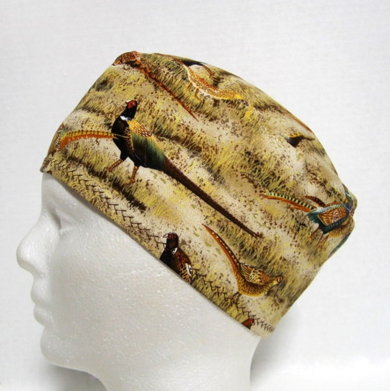 Mens Scrub Hat, Surgical Cap, Chemo Hat or Skull Cap with Pheasants