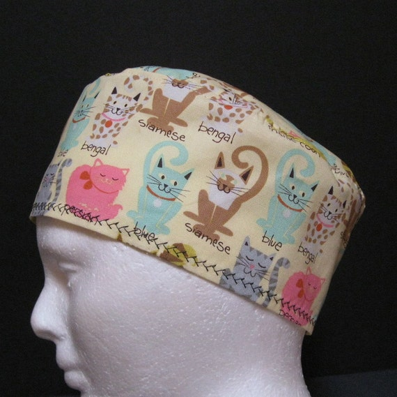 scrub hat or chemo hat with multi colored cats by