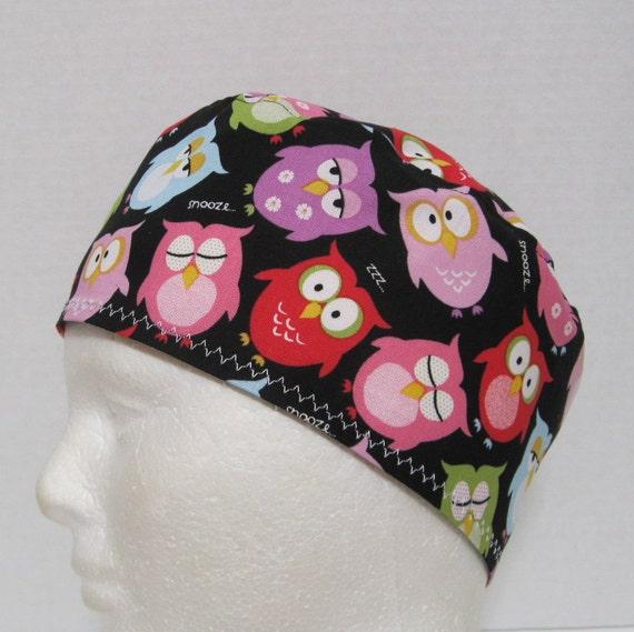 Scrub Hat or Skull Cap with Sleepy Owls on Black