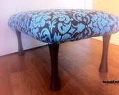 Teal & Brown Damask Footstool / Childs bench