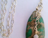 Turquoise Necklace, Silver with Mother of Pearl, Heishi Shell
