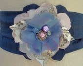 CLEARANCE.  was 85.00 now 15.00 Flower Sash Belt, Shabby Chic, Blue with Vintage Buttons